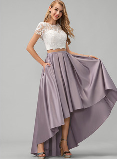 A-Line Scoop Neck Asymmetrical Satin Prom Dresses With Lace Pockets