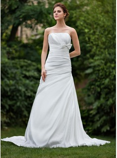 A-Line/Princess Strapless Court Train Taffeta Wedding Dress With Ruffle Bow(s)