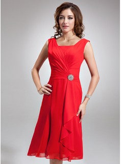 Square Neckline Knee-Length Chiffon Bridesmaid Dress With Crystal Brooch Cascading Ruffles