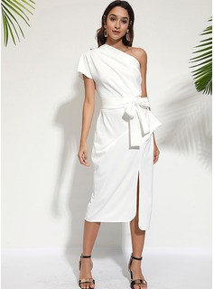 One Shoulder Short Sleeves Midi Dresses