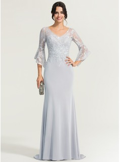 Trumpet/Mermaid V-neck Sweep Train Jersey Evening Dress