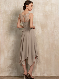 Scoop Neck Tea-Length Chiffon Lace Mother of the Bride Dress With Bow(s)
