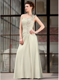 A-Line/Princess One-Shoulder Floor-Length Chiffon Mother of the Bride Dress With Ruffle Appliques Lace