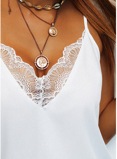 Regular Cotton Blends Spaghetti Straps Lace Solid Fitted Blouses
