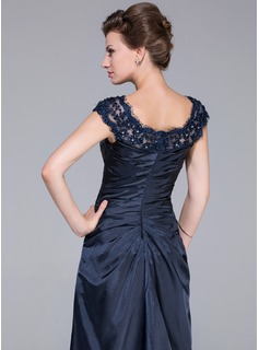 A-Line/Princess Scoop Neck Sweep Train Charmeuse Mother of the Bride Dress With Ruffle Lace Beading Flower(s) Cascading Ruffles