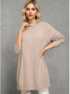 Solid Polyester Round Neck Turtleneck Pullovers Sweater Dresses Sweaters