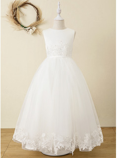 Ball-Gown/Princess Ankle-length Flower Girl Dress - Satin Tulle Lace Sleeveless Scoop Neck