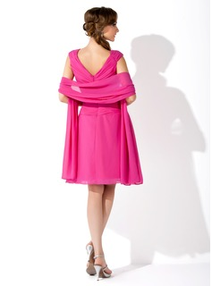 A-Line/Princess V-neck Knee-Length Chiffon Mother of the Bride Dress With Crystal Brooch Cascading Ruffles