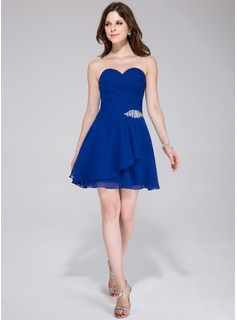 A-Line/Princess Sweetheart Short/Mini Chiffon Homecoming Dress With Beading Cascading Ruffles