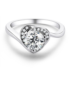 Heart Round Cut 925 Silver Engagement Rings