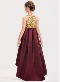 A-Line Scoop Neck Asymmetrical Satin Lace Junior Bridesmaid Dress With Beading Bow(s)