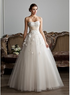 Ball Gown Sweetheart Floor Length Tulle Wedding Dress With Ruffle Sash Beading Liques Lace