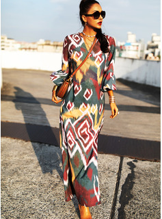 Print Shift V-Neck 3/4 Sleeves Flare Sleeve Maxi Casual Vacation Dresses
