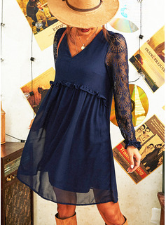 Lace Solid Shift V-Neck Long Sleeves Midi Casual Tunic Dresses