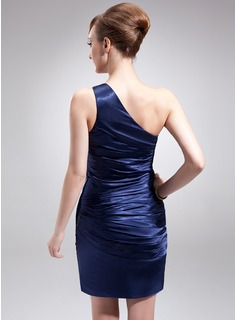 Sheath/Column One-Shoulder Short/Mini Charmeuse Mother of the Bride Dress With Ruffle