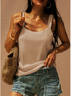 Regular Cotton Blends Strap Solid Fitted Blouses