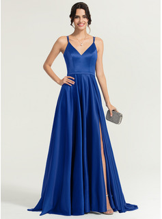 V-neck Sweep Train Satin Evening Dress