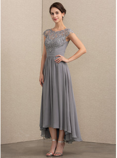 A-Line Scoop Neck Asymmetrical Chiffon Lace Evening Dress