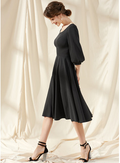 A-Line Scoop Neck Knee-Length Stretch Crepe Cocktail Dress