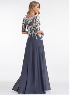 blue long sleeve evening dress