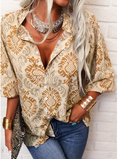 Regular Print Button Up Casual 3/4 Sleeves