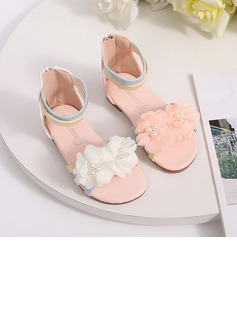 Girl's Peep Toe Leatherette Low Heel Flower Girl Shoes With Bowknot