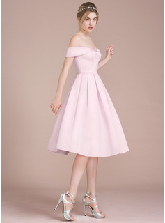 A-Line Off-the-Shoulder Knee-Length Satin Homecoming Dress