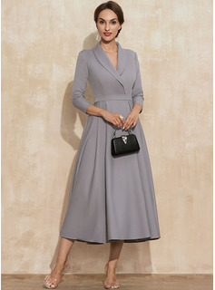 A-Line V-neck Tea-Length Stretch Crepe Cocktail Dress