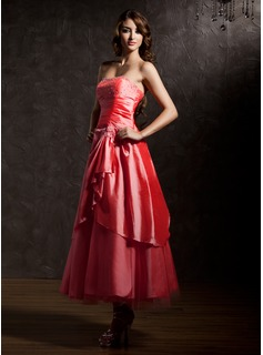 A-Line/Princess Sweetheart Ankle-Length Taffeta Quinceanera Dress With Beading Cascading Ruffles