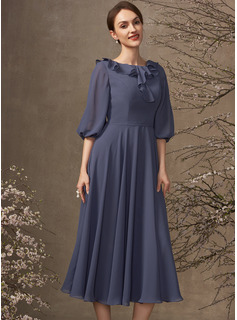 A-Line Scoop Neck Tea-Length Chiffon Mother of the Bride Dress With Cascading Ruffles