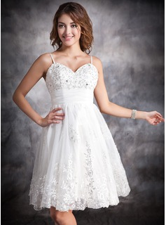 A-Line/Princess Sweetheart Knee-Length Satin Organza Wedding Dress With Ruffle Lace Beading