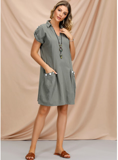 Cotton Blends With Button/Solid Knee Length Dress