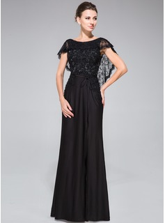 Trumpet/Mermaid Scoop Neck Floor-Length Lace Jersey Evening Dress With Beading Sequins Split Front