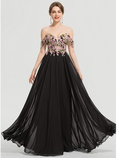 A-Line Off-the-Shoulder Floor-Length Chiffon Prom Dresses