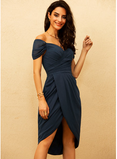 chiffon ruched waist dress