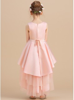 Ball-Gown/Princess Asymmetrical Flower Girl Dress - Satin/Tulle Sleeveless Scoop Neck With Rhinestone