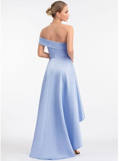 A-Line One-Shoulder Asymmetrical Satin Prom Dresses
