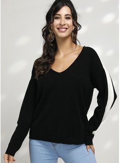 Color Block Cable-knit Polyester V-neck Pullovers Sweaters