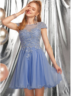 A-Line Scoop Neck Short/Mini Tulle Homecoming Dress With Beading Appliques Lace