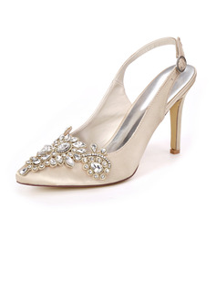 Women's Satin Stiletto Heel Slingbacks With Rhinestone