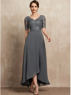 A-Line V-neck Asymmetrical Chiffon Lace Evening Dress