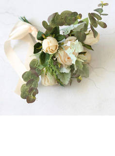 Classic Hand-tied Satin/Silk Flower Bridesmaid Bouquets (Sold in a single piece) - Bridesmaid Bouquets