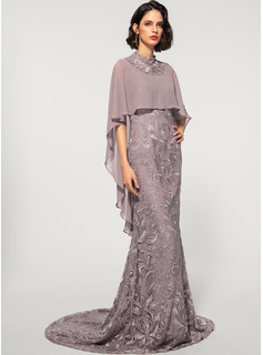 Sheath/Column High Neck Sweep Train Chiffon Lace Evening Dress