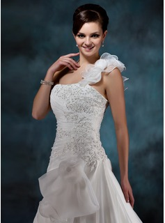 A-Line/Princess One-Shoulder Court Train Satin Organza Wedding Dress With Beading Appliques Lace Flower(s) Cascading Ruffles