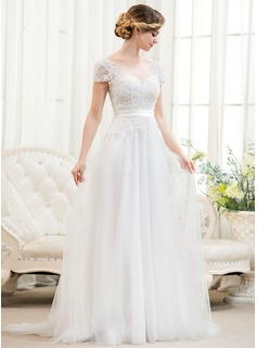 A-Line/Princess Scoop Neck Sweep Train Tulle Lace Wedding Dress With Beading Sequins