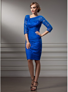 Sheath/Column V-neck Knee-Length Tulle Cocktail Dress With Ruffle