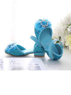 Girl's Closed Toe Leatherette Low Heel Flower Girl Shoes