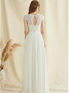 Floor-Length Chiffon Lace Wedding Dress