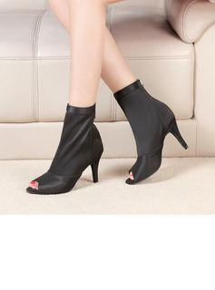 Women's Stretch Canvas Boots Latin Modern Ballroom With Hollow-out Dance Shoes