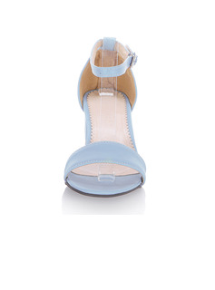 Women's Leatherette Chunky Heel Peep Toe Sandals